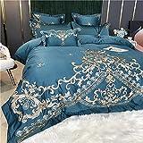 Copripiumino Matrimoniale Nero,Summer Style Style Style Satin Luxury High-End Ricamo Lavato Seta Rete Red Bed Lino Duvet Cover Cover Duvet Biancheria Da Letto-Lenzuolo_f._1,8 M Bed (4 Pz)