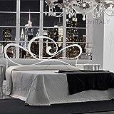Letto Matrimoniale in Ferro Colore Bianco con GIROLETTO PREDISPOSTO per Rete con Piedini 160 X 190 CM. Non Inclusa - Prodotto Made in Italy - ARR028