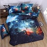 Kugkiukay - Set copripiumino, 3D, motivo cielo/galassia, con federa, per letto singolo e matrimoniale, in cotone/poliestere, A5, Doppio