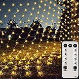 Silingsan Rete di Luci a LED, 200 LED Catene Luminose 3x2M 8 Modalità Impermeabile Energetico,Timer con Telecomando, Dimmerabile per Casa GiardinoTerrazza DIY Natale Feste Halloween Bianca Caldo