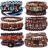 FUEGOELVES 12 – 30 braccialetti vintage in pelle per uomo e donna, braccialetti intrecciati in vera pelle e Acciaio inossidabile, colore: A52, cod. 3F