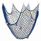 Rete da Pesca Decorativa con Conchighie Stile Mediterraneo Decorativa Netto Cottone con Shell per Decorazione Parete Casa Feste Tema Marino Nautico Mare 200 * 150cm (Blu Scuro)